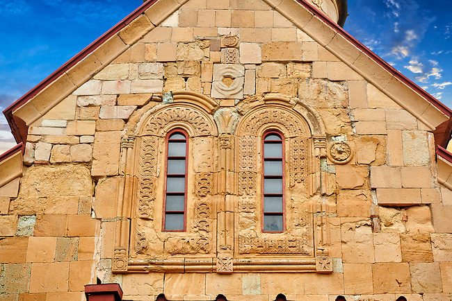 """Picture & image of the exterior geometric reief sculpture architectural details of Betania (Bethania ) Monastery of the Nativity of the Mother of God Georgian Orthodox complex, Georgia.<br /> <br /> Betania (Bethania ) Monastery of the Nativity of the Mother of God is a 11th century church with a cruciform ground plan and dome in the style of Georgian Orthodox church  architecture of the """"Golden Age"""" of the Kingdom of Georgia."""