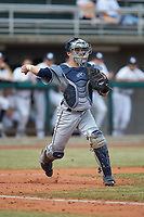 Nate Soria (5) of the Xavier Musketeers makes a throw to first base against the Penn State Nittany Lions at Coleman Field at the USA Baseball National Training Center on February 25, 2017 in Cary, North Carolina. The Musketeers defeated the Nittany Lions 10-4 in game one of a double header. (Brian Westerholt/Four Seam Images)