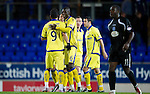 St Johnstone v Kilmarnock....06.11.10  .Mohamadou Sissoko celebrates at full time withRui Miguel.Picture by Graeme Hart..Copyright Perthshire Picture Agency.Tel: 01738 623350  Mobile: 07990 594431