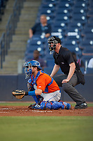 St. Lucie Mets catcher Mitch Ghelfi (11) and umpire Louie Krupa await the pitch during a Florida State League game against the Tampa Tarpons on April 10, 2019 at George M. Steinbrenner Field in Tampa, Florida.  St. Lucie defeated Tampa 4-3.  (Mike Janes/Four Seam Images)