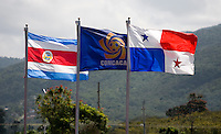 The flags of the participating countries fly over the stadium during the quarterfinals of the CONCACAF Men's Under 17 Championship at Catherine Hall Stadium in Montego Bay, Jamaica. Panama defeated Costa Rica, 1-0.