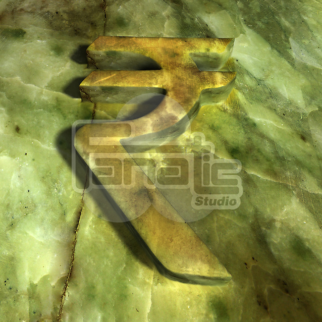 Close-up of Indian Rupee symbol camouflaged in green against wall