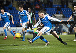 St Johnstone v Hibs…16.03.18…  McDiarmid Park    SPFL<br />George Williams shoots over the bar<br />Picture by Graeme Hart. <br />Copyright Perthshire Picture Agency<br />Tel: 01738 623350  Mobile: 07990 594431