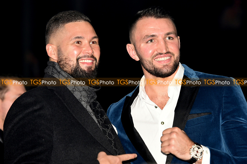 Tony Bellew (L) and Hughie Fury during a Boxing Show at the Manchester Arena on 17th February 2018