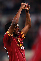 Calcio, Serie A: Roma vs Milan. Roma, stadio Olimpico, 25 aprile 2014.<br /> AS Roma forward Gervinho, of Ivory Coast, celebrates after scoring during the Italian Serie A football match between AS Roma and AC Milan at Rome's Olympic stadium, 25 April 2014.<br /> UPDATE IMAGES PRESS/Isabella Bonotto