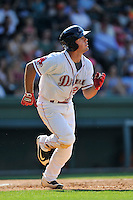 Second baseman Chad De La Guerra (20) of the Greenville Drive bats in a game against the Augusta GreenJackets on Sunday, June 12, 2016, at Fluor Field at the West End in Greenville, South Carolina. Greenville won, 11-8. (Tom Priddy/Four Seam Images)