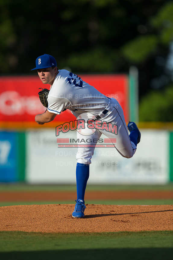 Burlington Royals starting pitcher Daniel Tillo (27) follows through on his delivery against the Danville Braves at Burlington Athletic Stadium on August 15, 2017 in Burlington, North Carolina.  The Royals defeated the Braves 6-2.  (Brian Westerholt/Four Seam Images)