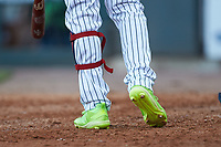 A close-up of the Adidas cleats worn by Gwinnett Stripers outfielder Cristian Pache (15) during the game against the Scranton/Wilkes-Barre RailRiders at Coolray Field on August 17, 2019 in Lawrenceville, Georgia. The Stripers defeated the RailRiders 8-7 in eleven innings. (Brian Westerholt/Four Seam Images)