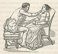 a magnetiseur cures his patient of a nervous ailment / Baron Du Potet Therapeutique magnetique page 255 / 1863