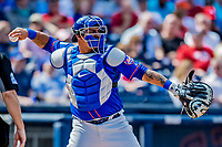 7 March 2019: New York Mets catcher Wilson Ramos in action during a Spring Training Game against the Washington Nationals at the Ballpark of the Palm Beaches in West Palm Beach, Florida. The Nationals defeated the visiting Mets 6-4 in Grapefruit League, pre-season play. Mandatory Credit: Ed Wolfstein Photo *** RAW (NEF) Image File Available ***