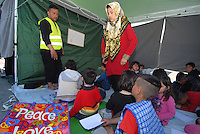 Pireus / Athens 31/3/2016<br /> School for afghani children run by volunteers in Pireus camp 2.<br /> Photo Livio Senigalliesi