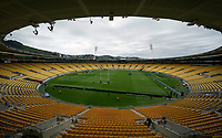 11th October 2020; Sky Stadium, Wellington, New Zealand;  Bledisloe Cup rugby union test match between the New Zealand All Blacks and Australia Wallabies. An empty stadium due to the pandemic