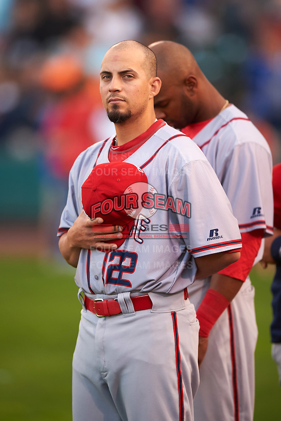 Syracuse Chiefs Jose Lozada (22) during the national anthem before a game against the Rochester Red Wings on July 1, 2016 at Frontier Field in Rochester, New York.  Rochester defeated Syracuse 5-3.  (Mike Janes/Four Seam Images)