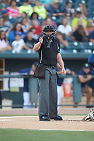 Home plate umpire Forrest Ladd makes a strike call during the South Atlantic League game between the Charleston RiverDogs and the Columbia Fireflies at Spirit Communications Park on June 9, 2017 in Columbia, South Carolina.  The Fireflies defeated the RiverDogs 3-1.  (Brian Westerholt/Four Seam Images)