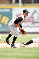 June 25, 2009:  Shortstop Brian Friday (5) of the Altoona Curve in the field during a game at Jerry Uht Park in Erie, PA.  The Altoona Curve are the Eastern League Double-A affiliate of the Pittsburgh Pirates.  Photo by:  Mike Janes/Four Seam Images