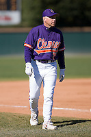 Clemson Tigers head coach Jack Leggett (7) in the third base coaches box versus the Wake Forest Demon Deacons during the second game of a double header at Gene Hooks Stadium in Winston-Salem, NC, Sunday, March 9, 2008.