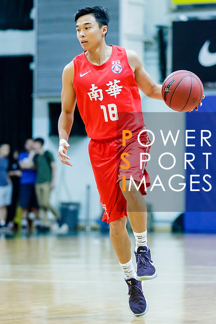 Cheng Ho Hang #18 of SCAA Men's Basketball Team dribbles the ball up court against the Fukien during the Hong Kong Basketball League game between SCAA and Fukien at Southorn Stadium on June 01, 2018 in Hong Kong. Photo by Yu Chun Christopher Wong / Power Sport Images