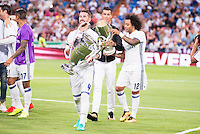 Real Madrid's player Sergio Ramos, Cristiano Ronaldo and Marcelo with the Europe Supercup and Champions League Cup during the XXXVII Santiago Bernabeu Trophy in Madrid. August 16, Spain. 2016. (ALTERPHOTOS/BorjaB.Hojas) /NORTEPHOTO