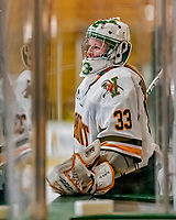1 December 2018: University of Vermont Catamount Goaltender Melissa Black, a Senior from Newmarket, Ontario, awaits to take the ice to start the third period against the University of Maine Black Bears at Gutterson Fieldhouse in Burlington, Vermont. The Lady Cats defeated the Lady Bears 3-2 in the second game of their 2-game Hockey East series. Mandatory Credit: Ed Wolfstein Photo *** RAW (NEF) Image File Available ***