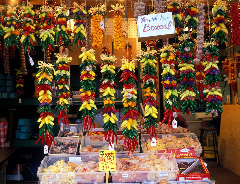 Decorative peppers for sale at Pike's Market. Seattle, Washington