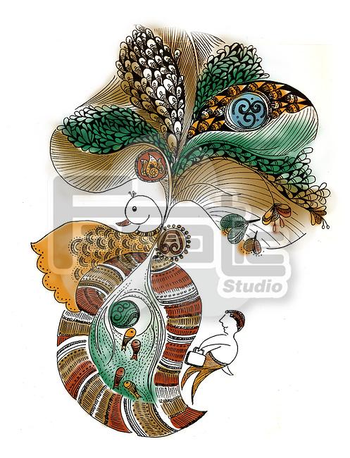 Illustration of peacock design against white background