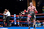 Mashatucket, Connecticut - April 25, 2009: Carl Froch exults in the ring after knocking Jermain Taylor down during their WBC super middleweight championship fight at the MGM Grand at the Foxwoods casino. Froch won by TKO in the twelve round, stopping Taylor 14 seconds before the end of the fight and retained his WBC championship belt. Photo by Thierry Gourjon.