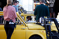 Actor Tom Cruise sitting in a yellow Fiat 500 wearing a face mask on the set of the film Mission Impossible 7 at Spagna square, just under the Spanish steps.<br /> Rome (Italy), November 22nd 2020<br /> Photo Samantha Zucchi Insidefoto