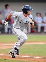 Outfielder Shannon Wilkerson (20) of the Salem Red Sox, Carolina League affiliate of the Boston Red Sox, in a game against the Potomac Nationals on June 16, 2011, at Pfitzner Stadium in Woodbridge, Va. (Tom Priddy/Four Seam Images)