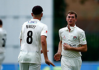 23rd September 2021; Aigburth, Liverpool, Merseyside, England; LV=Country Cricket Championship; Lancashire versus Hampshire; George Balderson of Lancashire celebrates taking the final Hampshire wicket as they were dismissed for 193 in their second innings setting the home team a target of 196