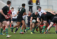 SCHOOLS CUP FINAL<br /> Monday 17th March 2014<br /> <br /> Ross Todd passes to Charlie McEwan during the Ulster Schools Cup final between MCB and Sullivan Upper School at Ravenhill Stadium, Belfast.<br /> <br /> Mandatory Image Credit - Photo by JOHN DICKSON - DICKSONDIGITAL