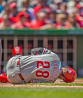 26 May 2013: Philadelphia Phillies infielder Kevin Frandsen lies in pain after getting hit by a pitch during game action against the Washington Nationals at Nationals Park in Washington, DC. The Nationals defeated the Phillies 6-1, taking the rubber game of their 3-game weekend series. Mandatory Credit: Ed Wolfstein Photo *** RAW (NEF) Image File Available ***