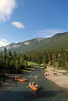 Banff National Park, Canadian Rockies, AB, Alberta, Canada - Bow River, Rafting and Horseback Riding, Rocky Mountains, Summer