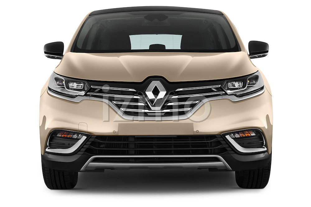 Car photography straight front view of a 2015 Renault Espace Intens 5 Door Minivan Front View