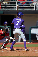 Giovanni DiGiacomo (7) of the LSU Tigers at bat against the Georgia Bulldogs at Foley Field on March 23, 2019 in Athens, Georgia. The Bulldogs defeated the Tigers 2-0. (Brian Westerholt/Four Seam Images)