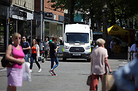 A CCTV police van in Oxford Street, Swansea, Wales, UK. Friday 26 May 2017