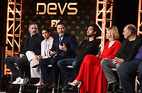 """PASADENA, CA - JANUARY 9: (L-R) Creator/Executive Producer/Writer/Director Alex Garland, cast members Sonoya Mizuno, Nick Offerman, Jin Ha, Alison Pill, and Zach Grenier attend the panel for """"Devs"""" during the FX Networks presentation at the 2020 TCA Winter Press Tour at the Langham Huntington on January 9, 2020 in Pasadena, California. (Photo by Frank Micelotta/FX Networks/PictureGroup)"""