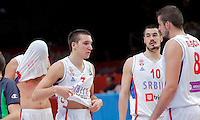 Serbia's Zoran Erceg, Bogdan Bogdanovic, Nikola Kalinic and Nemanja Bjelica during European championship semi-final basketball match between Serbia and Lithuania on September 18, 2015 in Lille, France  (credit image & photo: Pedja Milosavljevic / STARSPORT)