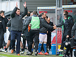 Partick Thistle v St Johnstone....25.10.14   SPFL<br /> Tommy Wright applauds the fans at full time<br /> Picture by Graeme Hart.<br /> Copyright Perthshire Picture Agency<br /> Tel: 01738 623350  Mobile: 07990 594431