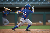 AZL Rangers Cody Freeman (33) hits a single to left field during an Arizona League game against the AZL Athletics Gold on July 15, 2019 at Hohokam Stadium in Mesa, Arizona. The AZL Athletics Gold defeated the AZL Rangers 9-8 in 11 innings. (Zachary Lucy/Four Seam Images)