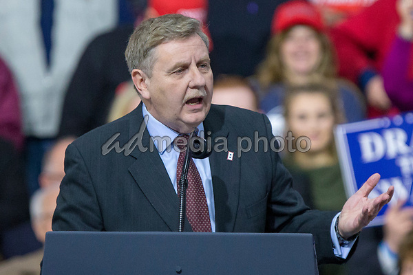Rick Saccone, Republican Congressional candidate for Pennsylvania's 18th district, speaks to supporters during a Make American Great Rally at Atlantic Aviation in Moon Township, Pennsylvania on March 10th, 2018. Photo Credit: Alex Edelman/CNP/AdMedia