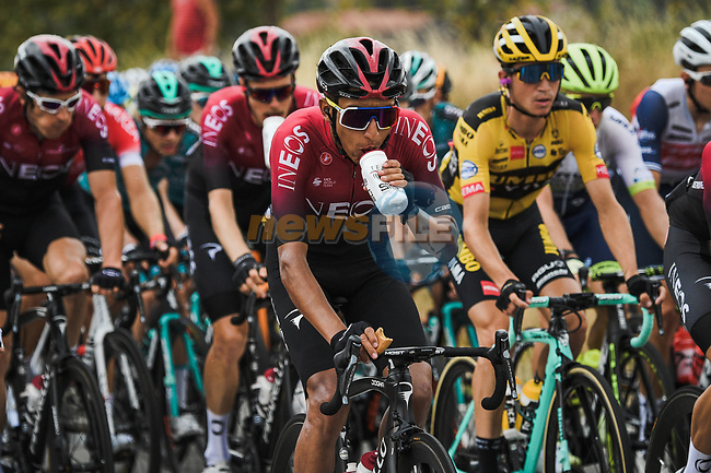 The peloton including Egan Bernal (COL) Team Ineos during Stage 1 of Criterium du Dauphine 2020, running 2185km from Clermont-Ferrand to Saint-Christo-en-Jarez, France. 12th August 2020.<br /> Picture: ASO/Alex Broadway | Cyclefile<br /> All photos usage must carry mandatory copyright credit (© Cyclefile | ASO/Alex Broadway)