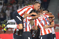 BARRANQUILLA  -COLOMBIA, 21-FEBRERO-2015. Macnelly Torres jugador del Atletico Junior   celebra su gol   contra  Jaguares  durante partido por la fecha 5 de la Liga   çguila I 2015 jugado en el estadio Metropolitano  de la ciudad de Barranquilla./ Macnelly Torres player of Atletico Junir celebrates his goal  against   of Jaguares during the match for the fifth date of the Liga  Aguila  I 2015 played at Metropolitano  stadium in Barranquilla city<br />  . Photo / VizzorImage / Alfonso Cervantes / Stringer