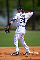 Detroit Tigers Kody Eaves (34) during a minor league Spring Training game against the Washington Nationals on March 21, 2016 at Tigertown in Lakeland, Florida.  (Mike Janes/Four Seam Images)
