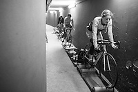 underneath the velodrome the women warm up for their race<br /> <br /> 2016 Gent 6<br /> day 5