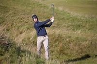 1st October 2021; Kingsbarns Golf Links, Fife, Scotland; European Tour, Alfred Dunhill Links Championship, Second round; Thomas Detry of Belgium plays from the rough on the seventh hole at Kingsbarns Golf Links