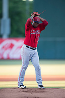 AZL Angels starting pitcher Yoel De Leon (71) prepares to deliver a pitch during an Arizona League game against the AZL Athletics at Tempe Diablo Stadium on June 26, 2018 in Tempe, Arizona. The AZL Athletics defeated the AZL Angels 7-1. (Zachary Lucy/Four Seam Images)