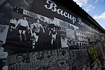Bacup Borough 4 Holker Old Boys 1, 25/04/2016. Brain Boys West View Stadium, NorthWest Counties League Division One. An exterior view of a photo montage on the outside of the Brain Boys West View Stadium before Bacup Borough play Holker Old Boys in a NorthWest Counties League division one fixture. Formed as Bacup in 1879, the club moved into their current home in 1889 and have been known as Bacup Borough since the 1920s, apart from a brief recent spell when they added the name Rossendale to their name. With both teams challenging for play-off places, Bacup Borough won this fixture by 4-1, watched by a crowd of 50. Photo by Colin McPherson.