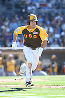 Alex Bregman of the USA Team runs to first base during a game against the World Team during The Futures Game at Petco Park on July 10, 2016 in San Diego, California. World Team defeated USA Team, 11-3. (Larry Goren/Four Seam Images)