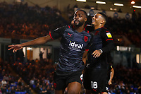 28th August 2021; Weston Homes Stadium, Peterborough, Cambridgeshire, England; EFL Championship football, Peterborough United versus West Bromwich Albion; Semi Ajayi and Karlan Grant of West Bromwich Albion celebrate their winning goal after 95 minutes (0-1)