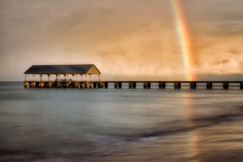 Hanalei Pier, Bay and Bali Hai with rainbow. (Mekana Mountain) Kauai, Hawaii (Mekana Mountain) Kauai, Hawaii